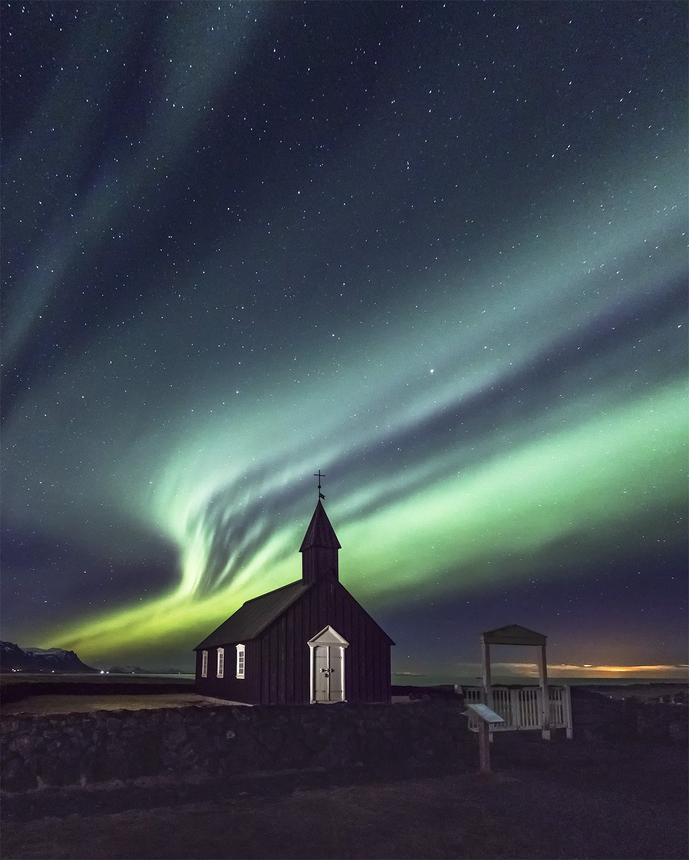 budir church & northern lights, iceland, Sergey Merphy