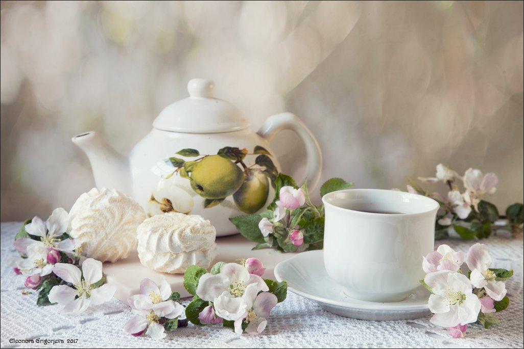 кофе, чай, зефир, яблоня, цветущая, белый, сладкий, натюрморт, Eleonora Grigorjeva
