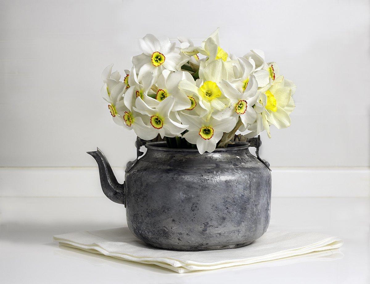 чайник, старый чайник, цветы, нарциссы, белый фон, натюрморт, белый стол, натюрморт с цветами, винтаж, Наталья Бочкарева