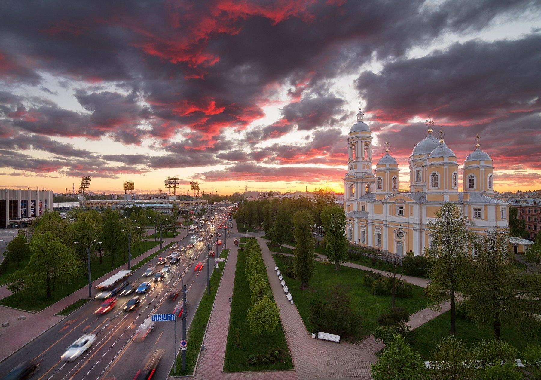 Церковь, Санкт-Петербург, крыша, закат, Голубев Алексей