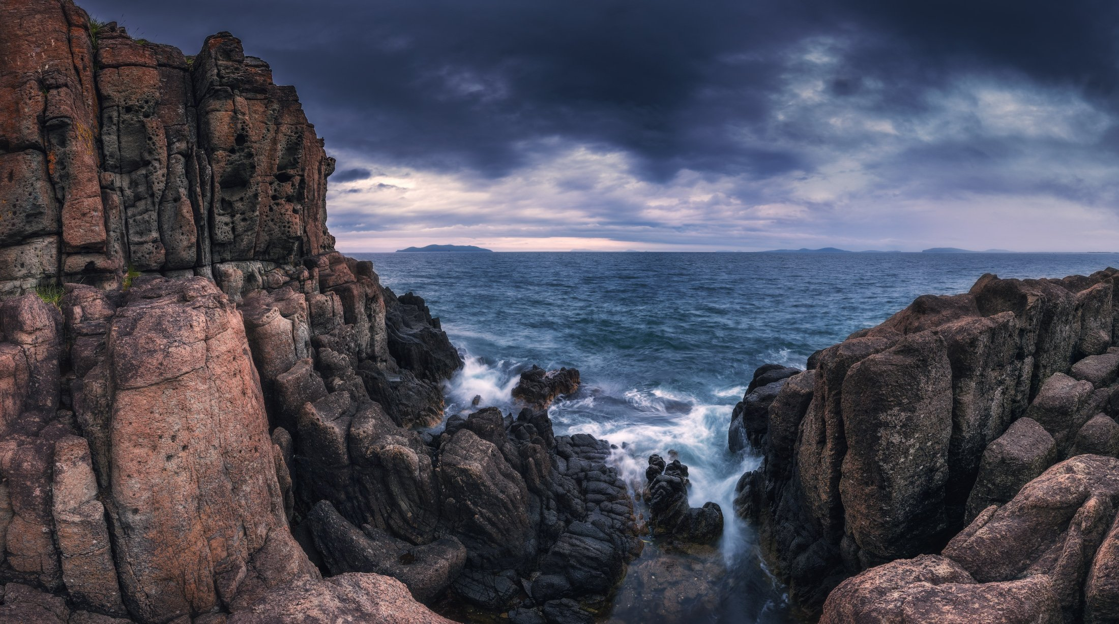 вечер, море, скалы, Андрей Кровлин