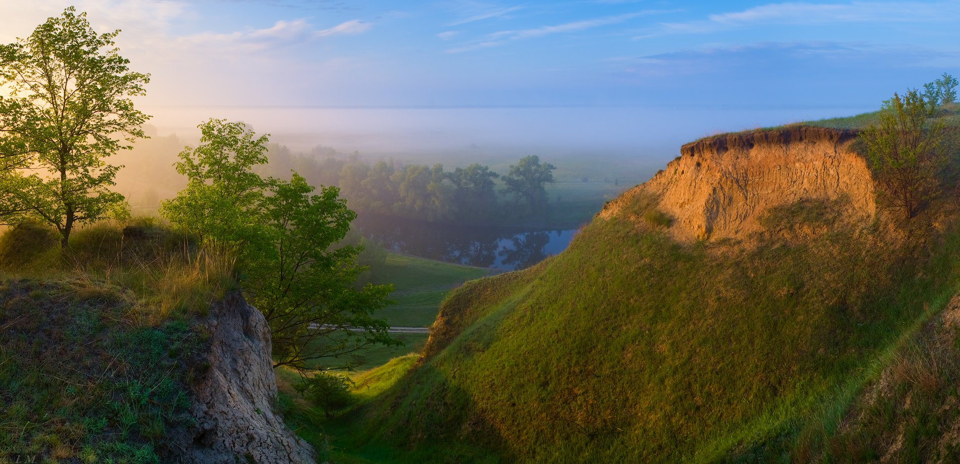 Утро, туман, река, Псел, весна, май, рассвет, панорама, речные террасы, sunrise, may, spring, panorama, Psel, river, fog, light, wide angle, landscape photography, terraces, view, hills, morning, , I'M