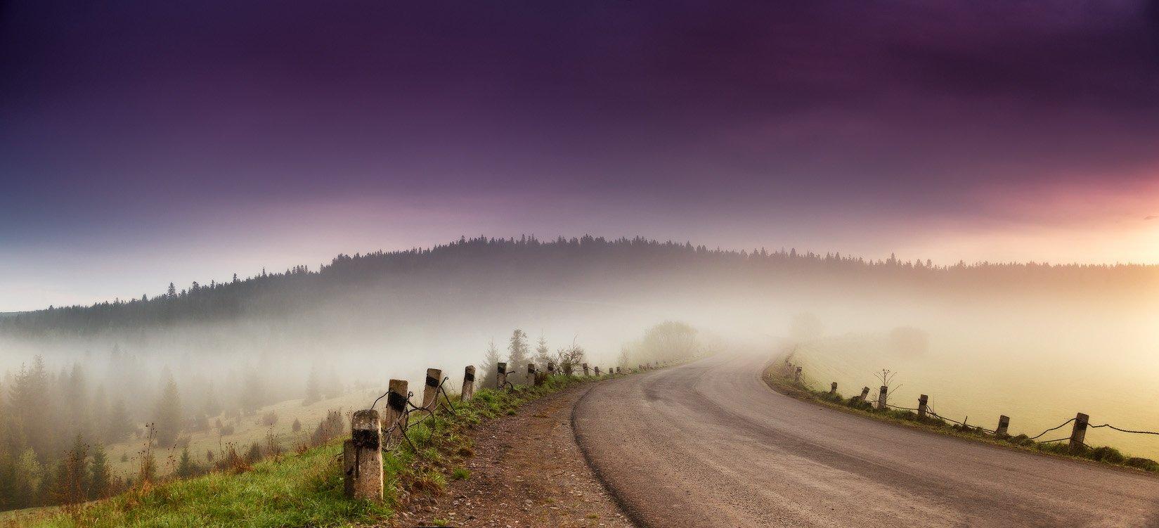 горы, карпаты, весна, рассвет, май, туман, украина, утро, дорога, Вейзе Максим