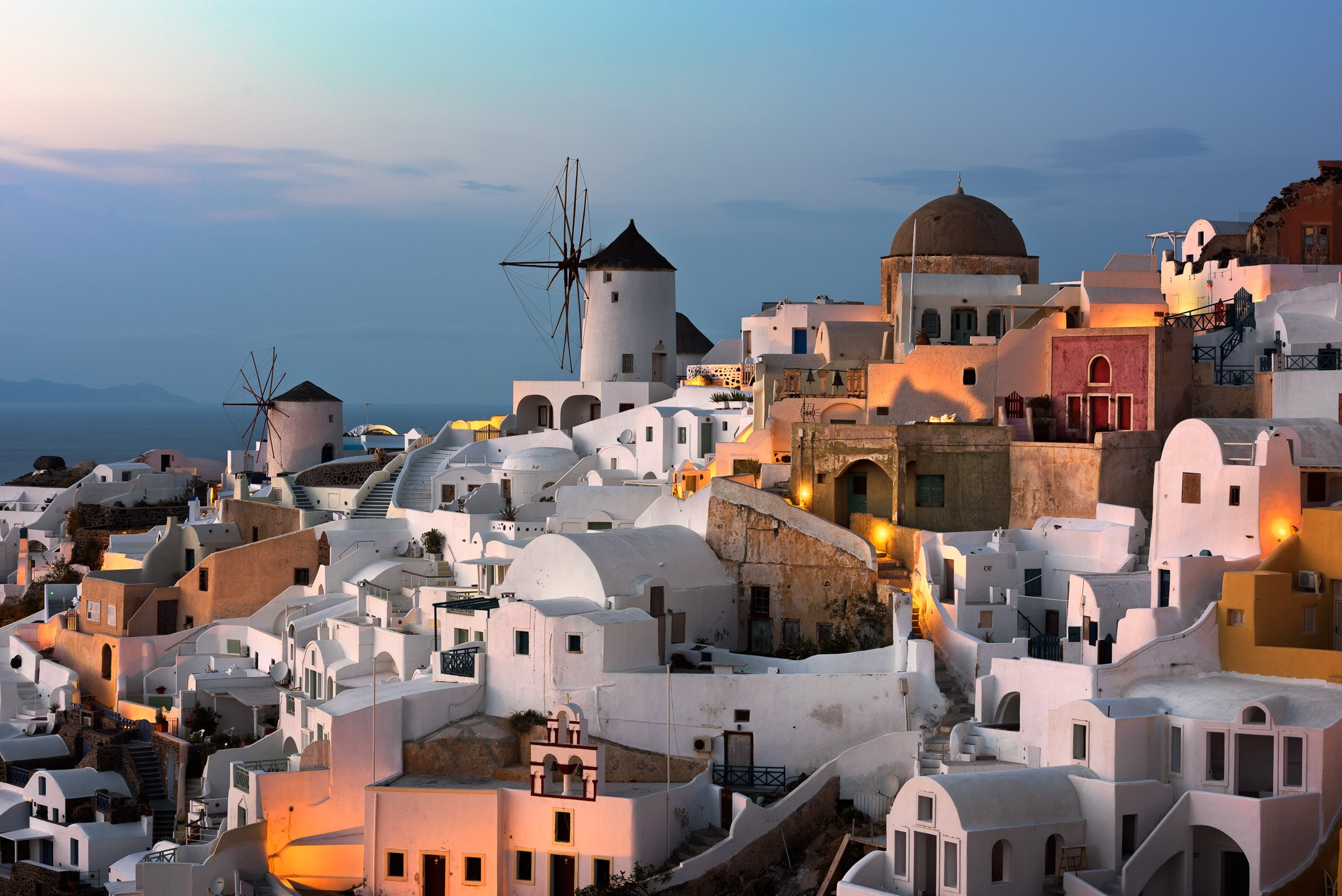 architecture, church, cityscape, cyclades, greece, island, mill, night, oia, resort, santorini, skyline, sunset, thera, thira, town, travel, twilight, urban, village, volcano, white, windmill, anshar
