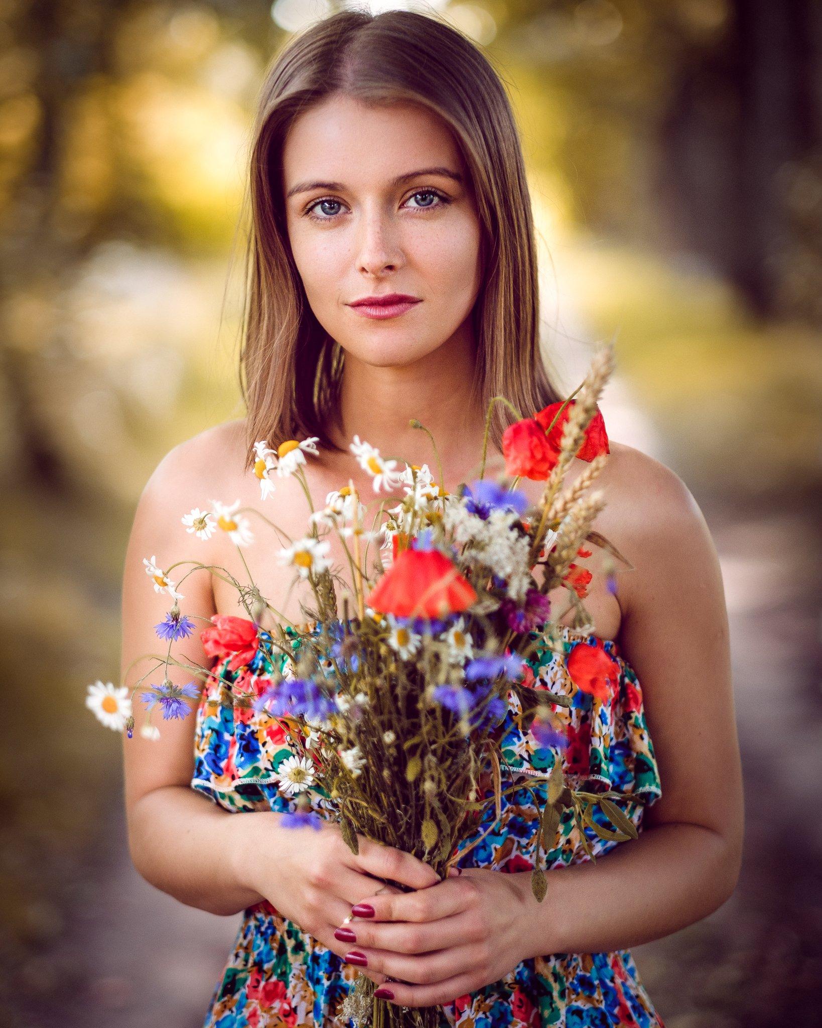 beauty, portrait, girl, young, female, flowers, Saulius Ke