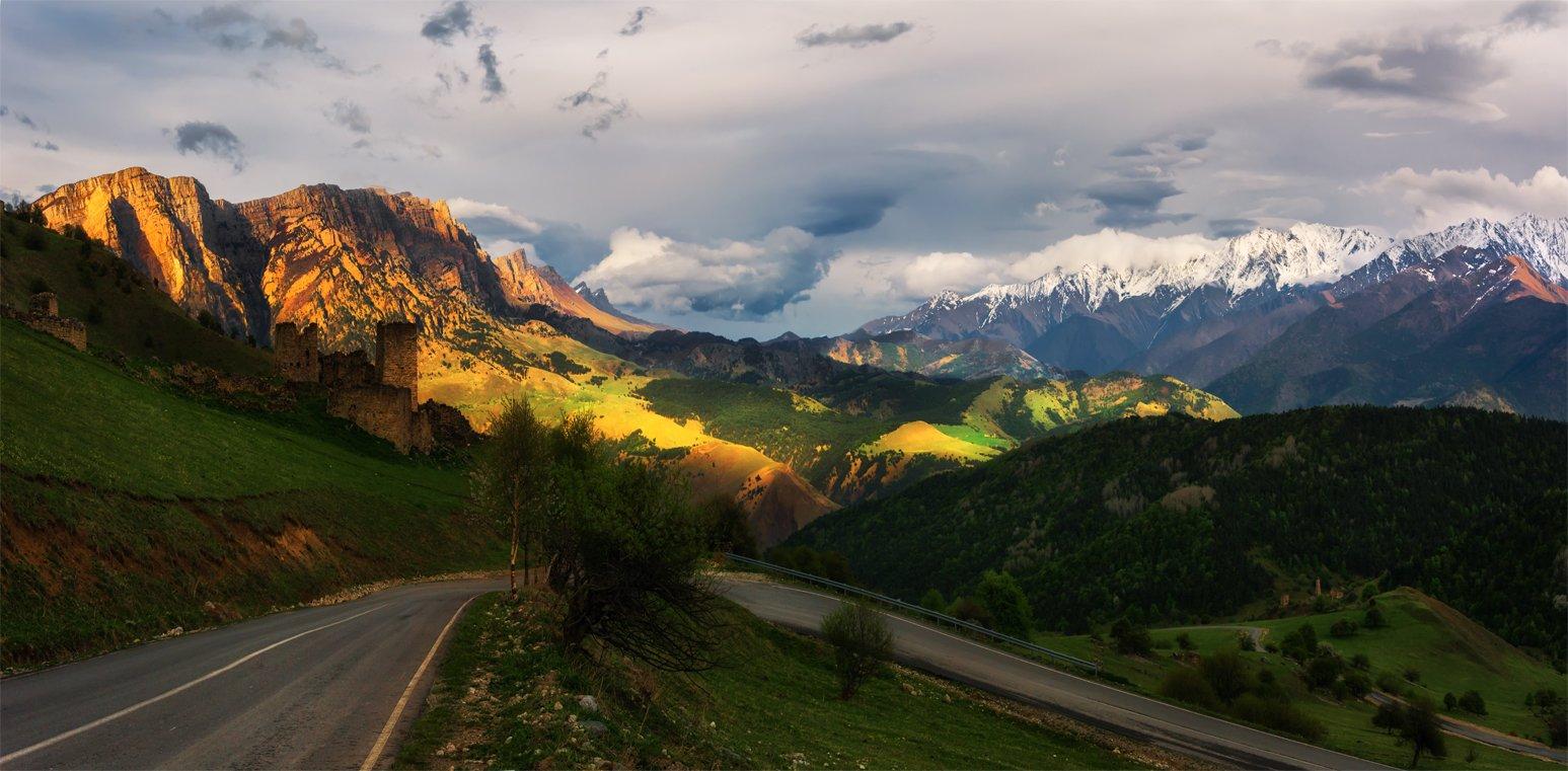 природа, пейзаж, кавказ, горы, весна, ингушетия, вечер, панорама,, Альберт Беляев