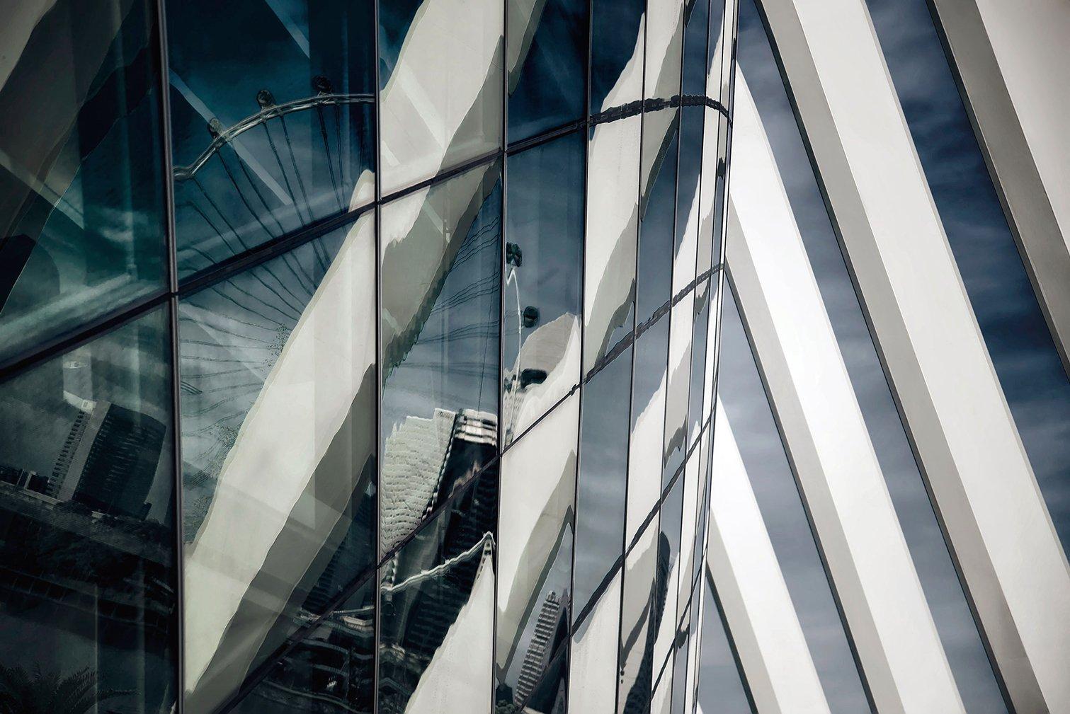 сингапур, город, отражение, абстракция, Алексей Ермаков