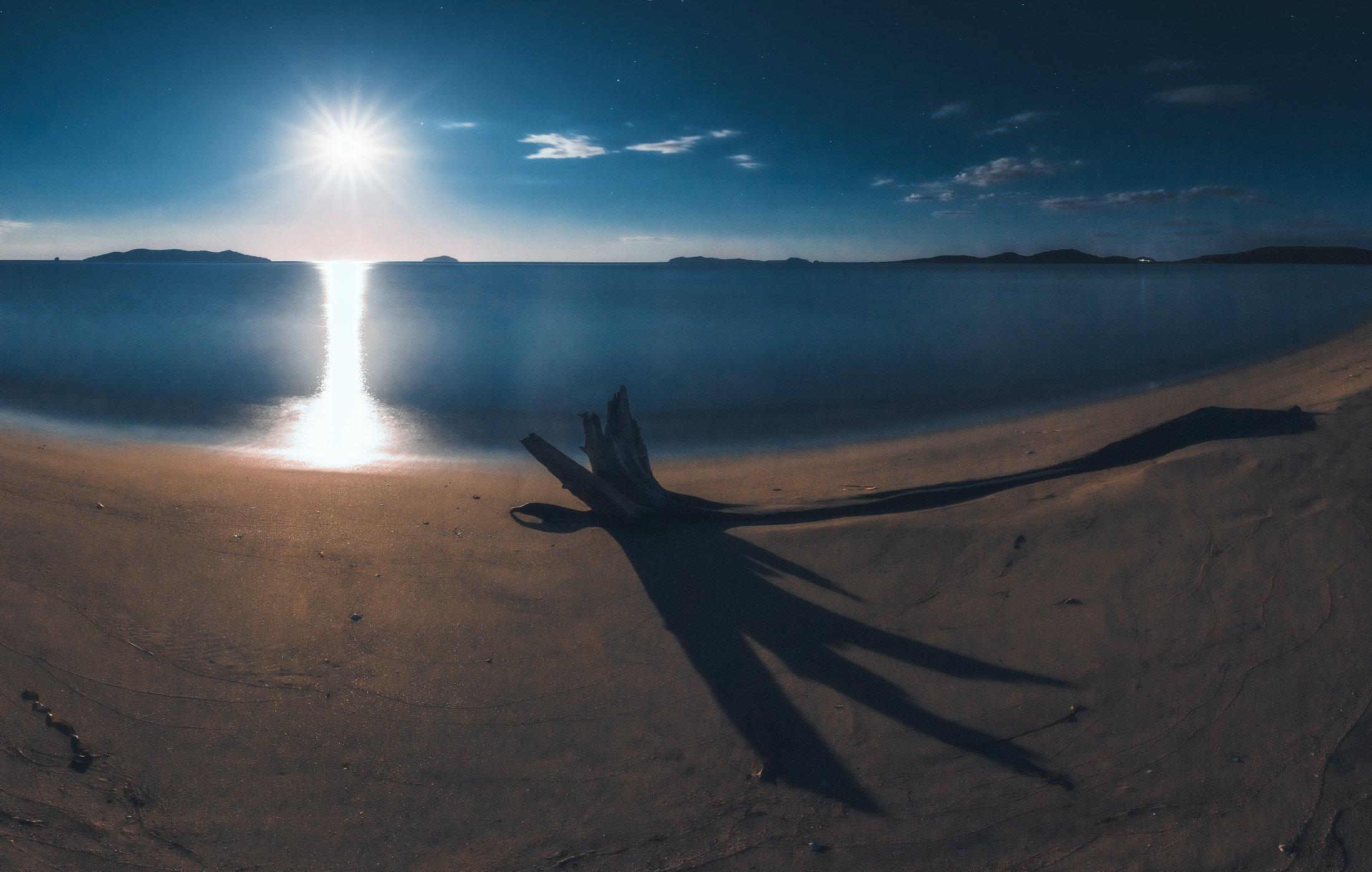 панорама, ночь, море, луна, Андрей Кровлин