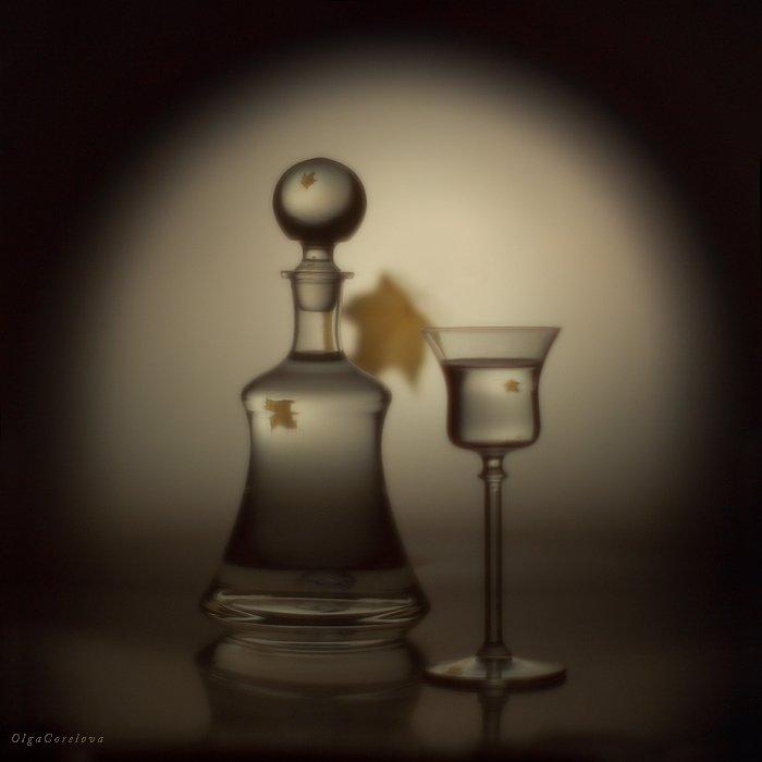 фото, стекло, осень, лист, натюрморт, Ольга Горелова