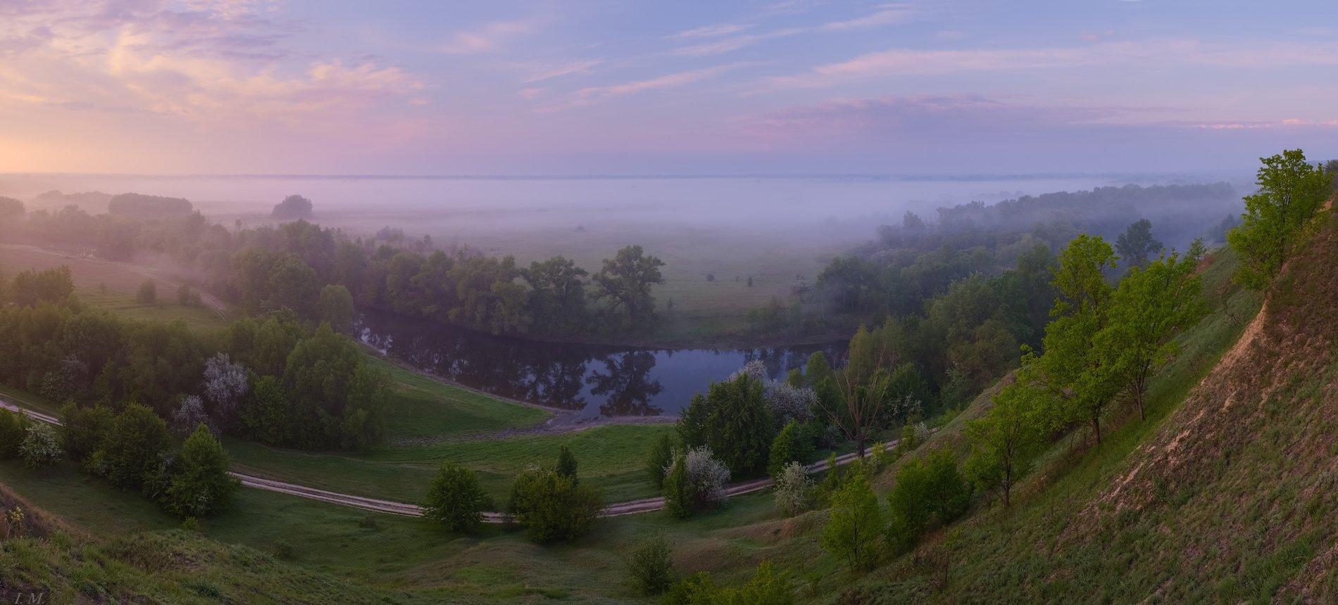 утро, туман, весна, рассвет, май, панорама, холмы, река, псел, spring, morning, fog, river, psel, panorama, I'M