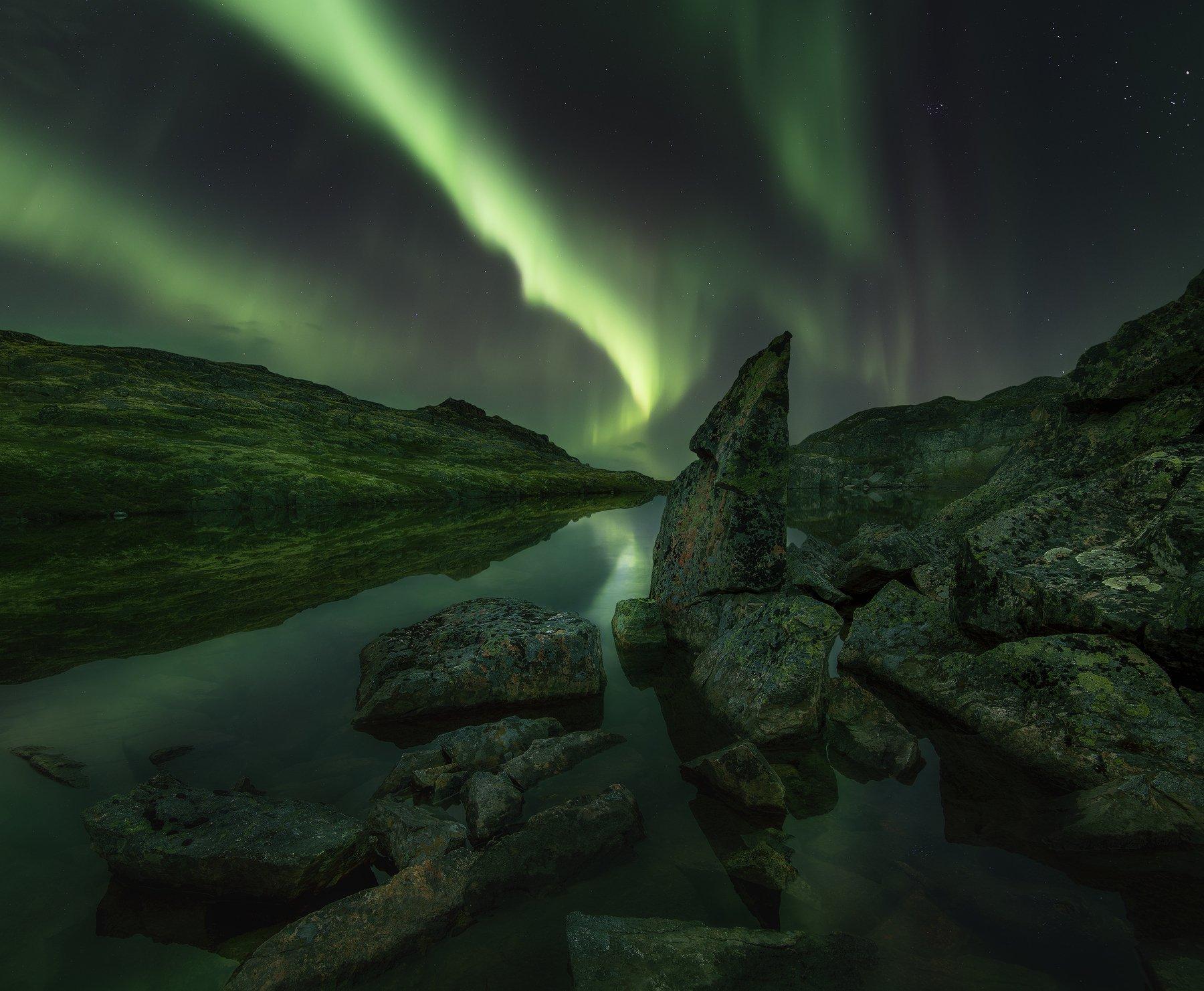 Северное сияние, Aurora Borealis, Баренцево море, Васильев Алексей