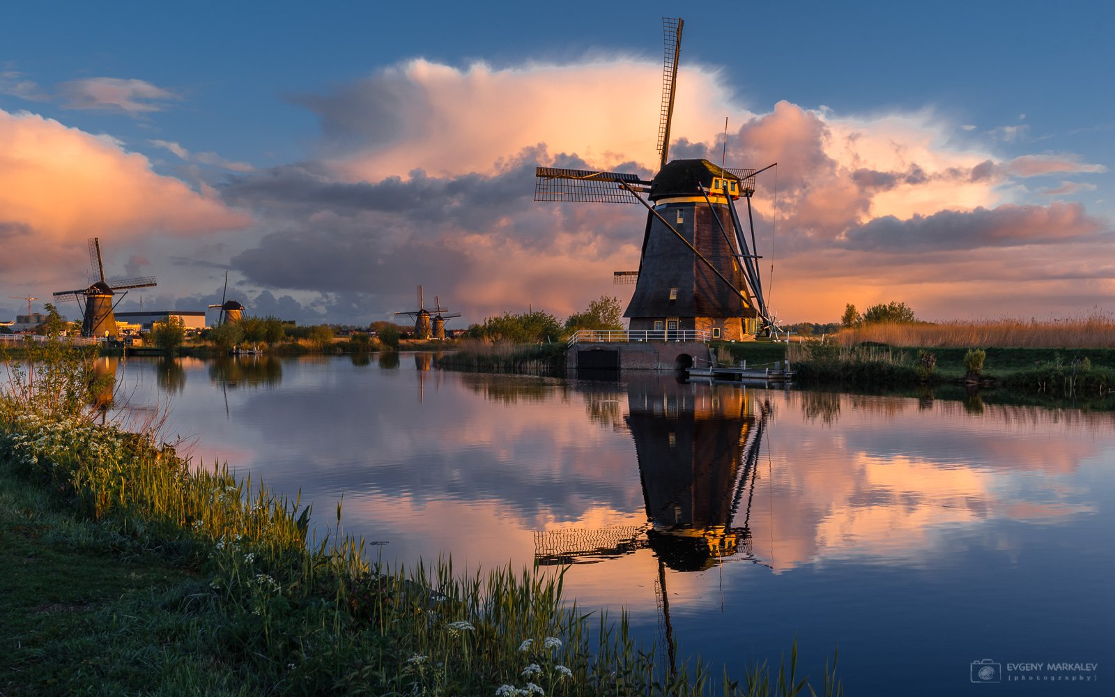 holland, kinderdijk, landscape, sunrise, рассвет, нидерланды, Евгений Маркалев
