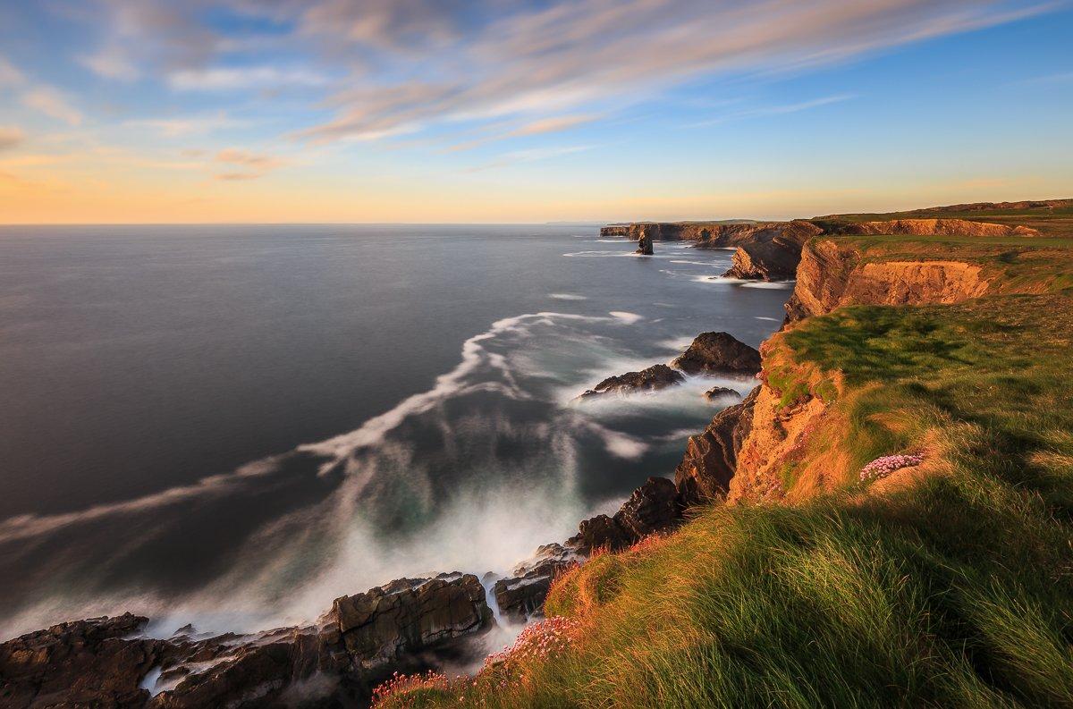 kilkee cliffs,cliffs of moher,ireland,clare,galway,lee,bigstopper,longexposure,long exposure, seascapes, seastack,clouds, Ryszard Lomnicki