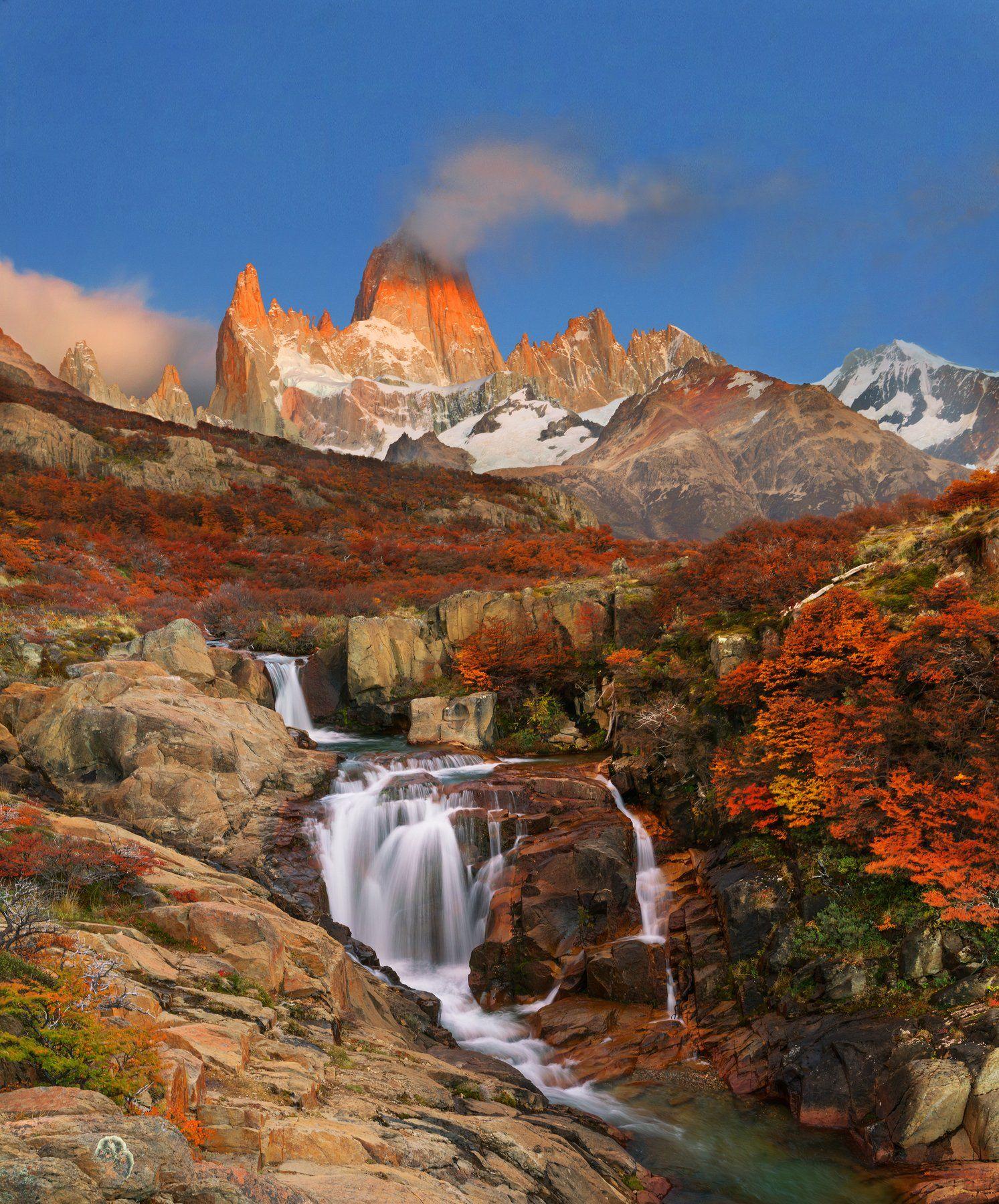 Фиц Рой, Cerro  Chalten, Патагония, водопад, Владимир Рябков