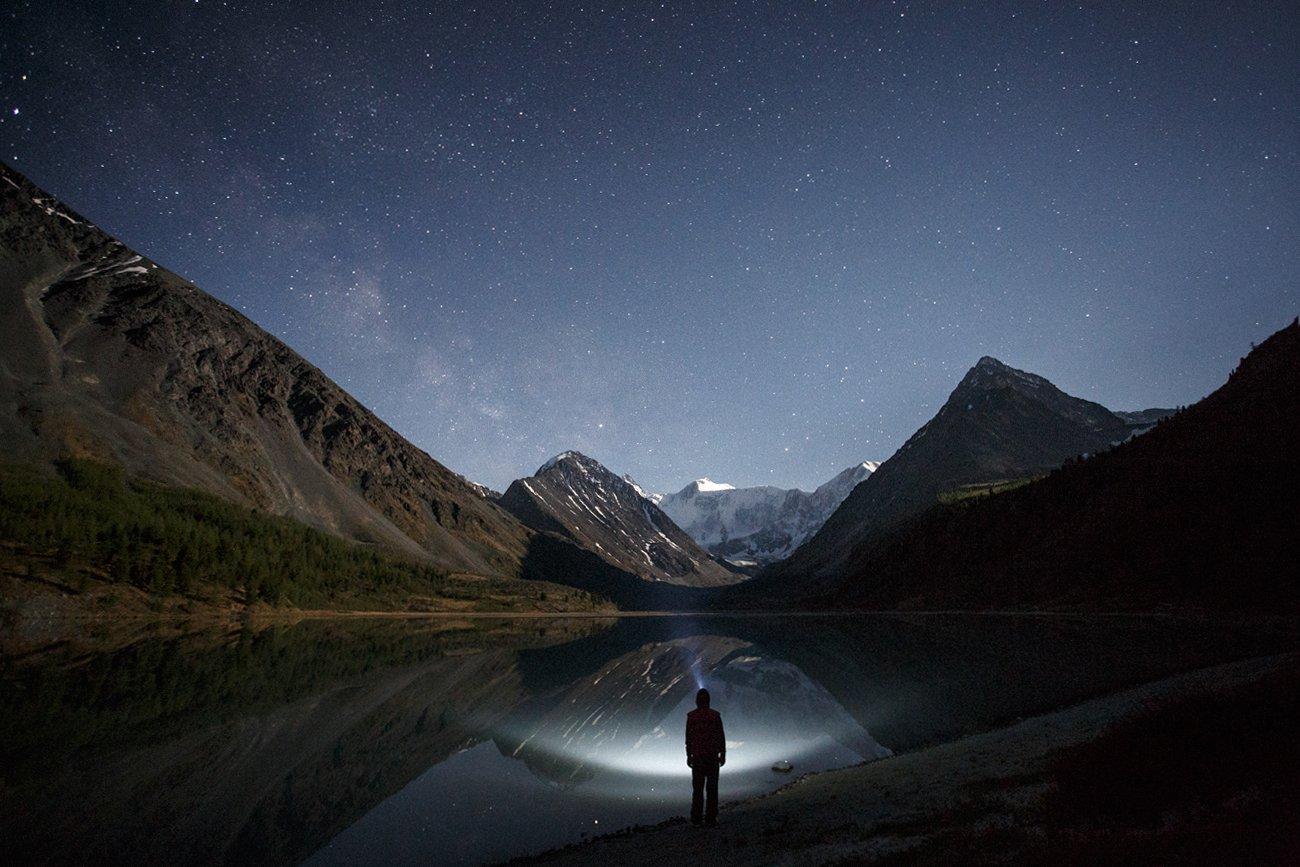 путешествия, звезды, белуха, алтай, ночь, звезды, туризм, исследование, фризлайт, пейзаж, горы, катунский хребет, тайна, темно, ночной, Александр Нерозя