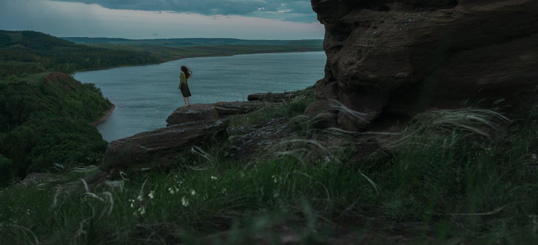 aslikul, nature, lake, bashkortostan, rock, morning, weather, wind, girl, , Роман Филиппов