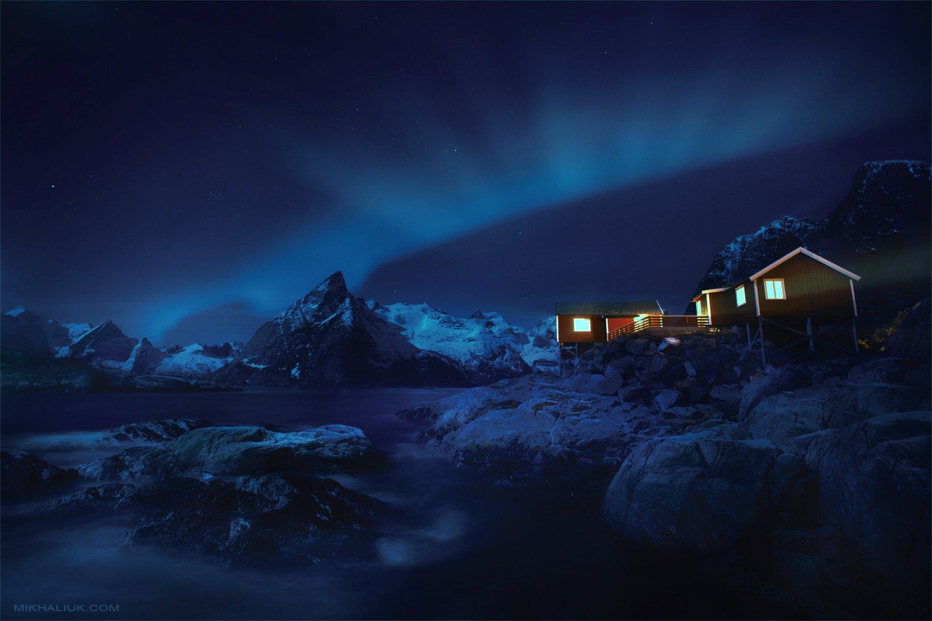 lofoten, at, night, Михалюк Сергей *
