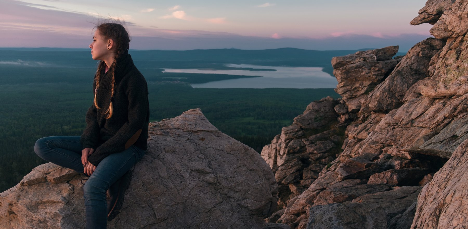 ural, mountain, mountains, rocks, rock, girl, morning, dawn, russia, lake, top, , Роман Филиппов