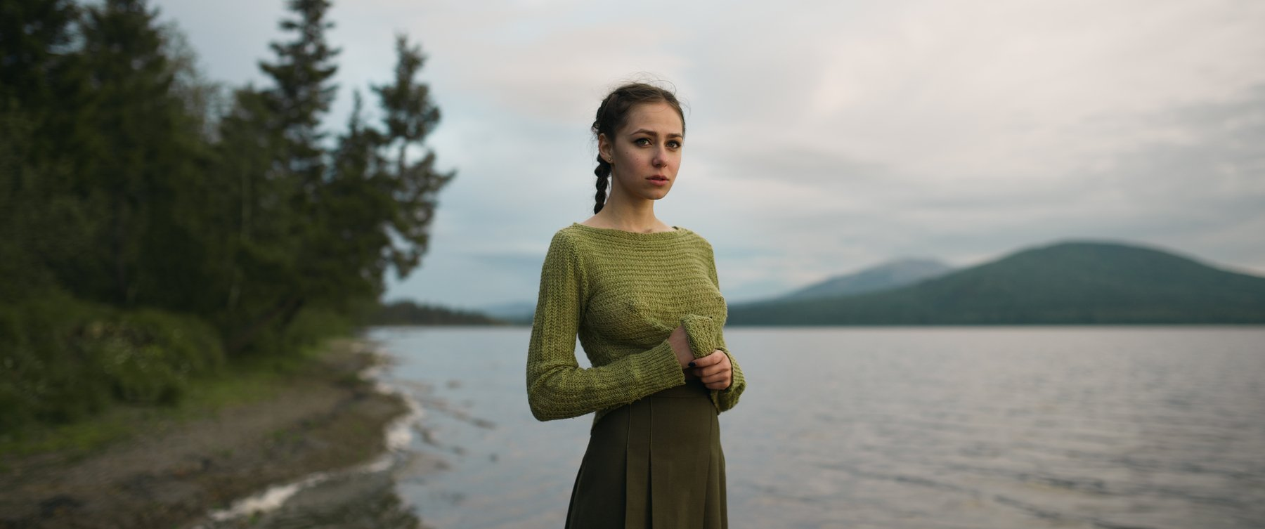 girl, portrait, nature, lake, ural, zuratkul, green, color, nice, mountains, mountain, russia, Роман Филиппов