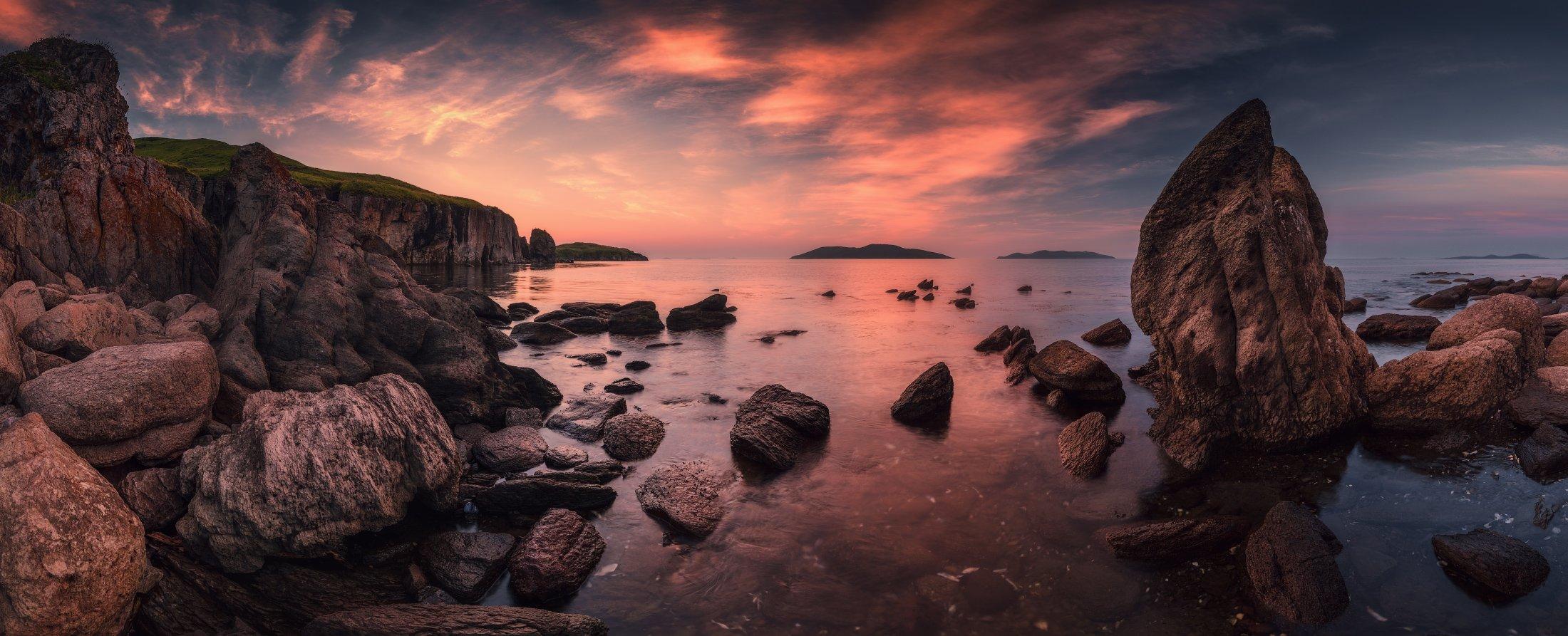 панорама, утро, море, скалы, камни, Андрей Кровлин