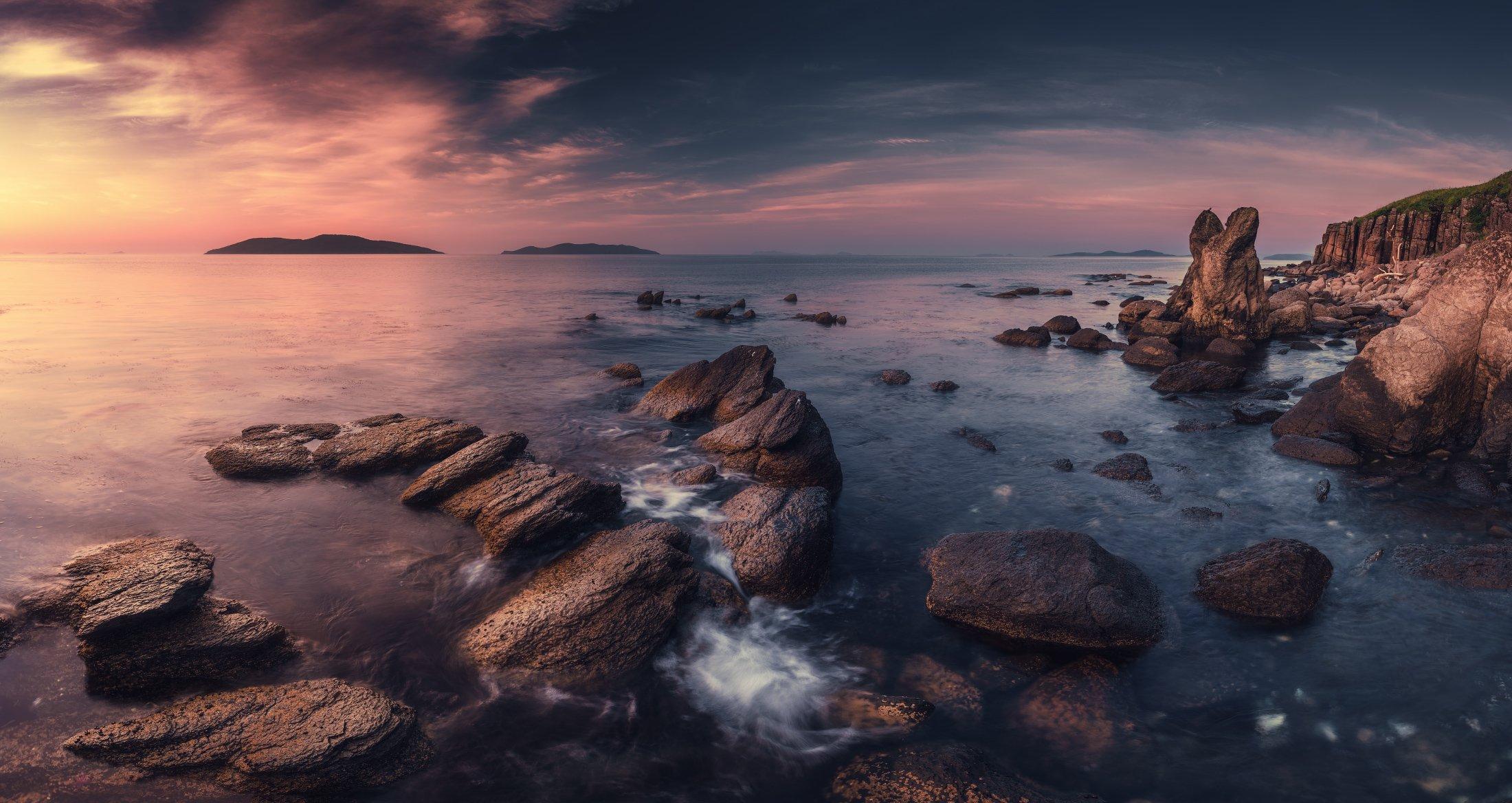 панорама, море, скалы, камни, утро, Андрей Кровлин