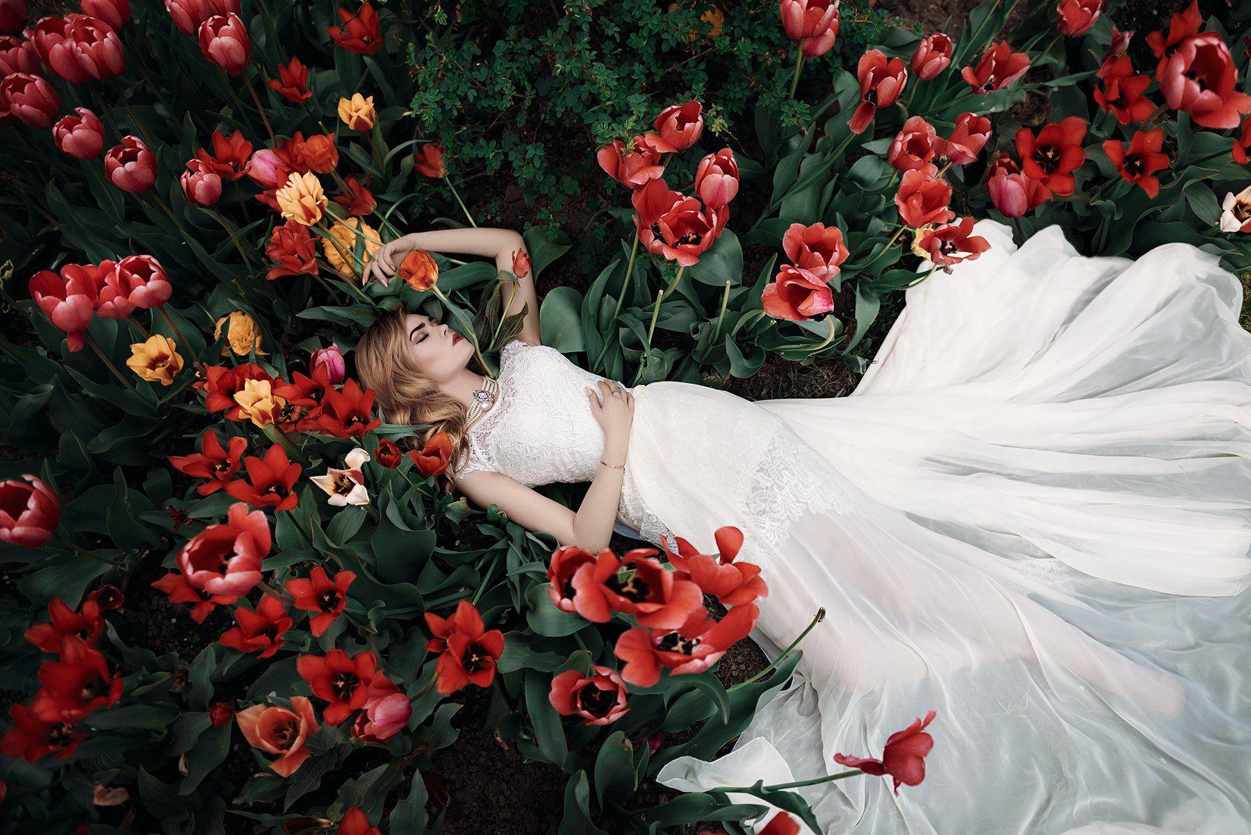 Nikon, D750, 24-70, платье, тюльпаны, портрет, девушка, Новицкий Илья