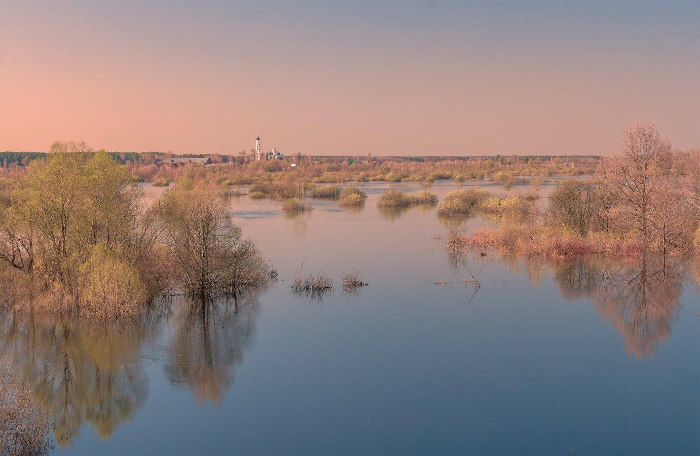 весна, вечер, река, разлив, Виктор Климкин