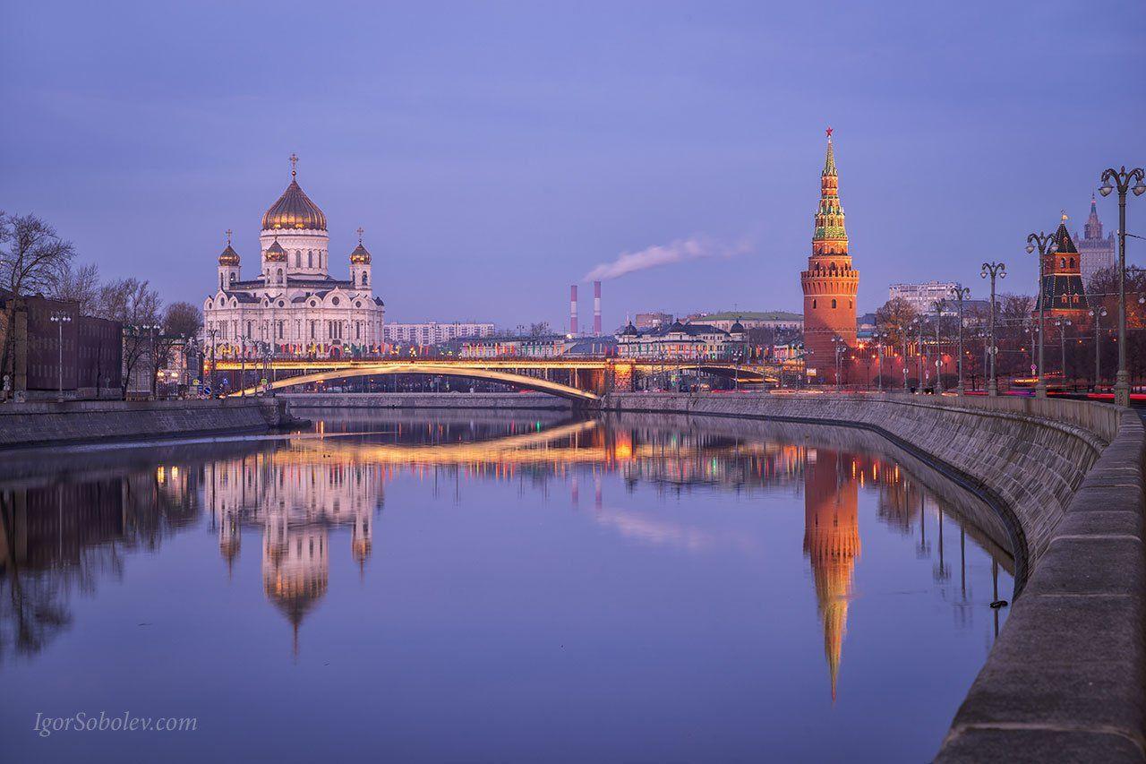 храм христа спасителя, водовзводная башня, кремль, москва, утро, москва-река, Соболев Игорь