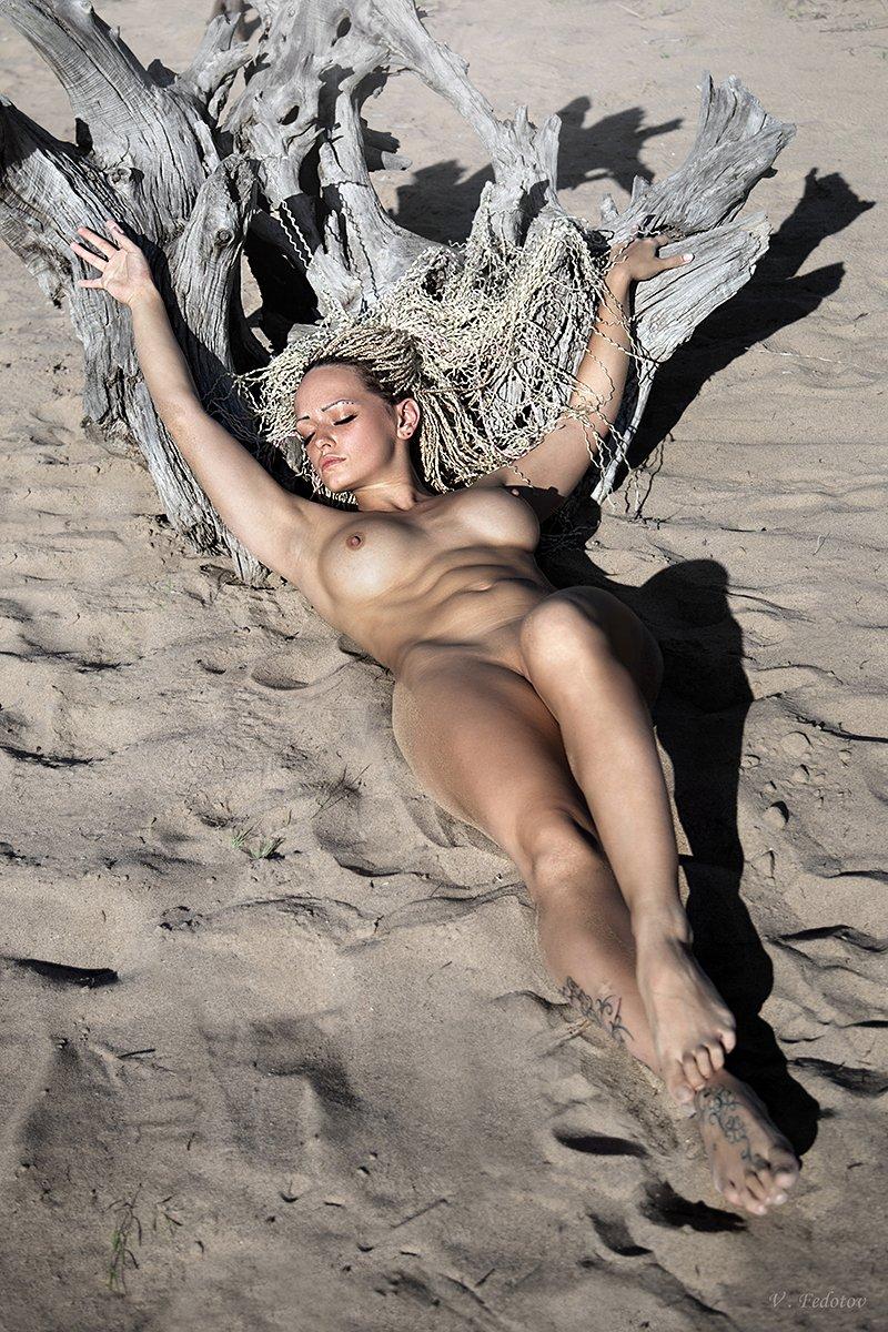фото , цвет , ню , девушка , дреды , песок , дерево, Федотов Вадим(Vadius)