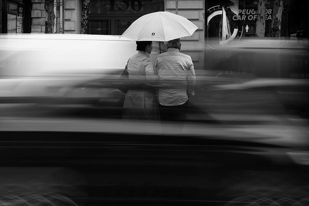 течение, движение, пара, зонт, париж, машины, скорость, двое, город, улица, красный свет, Алла Соколова