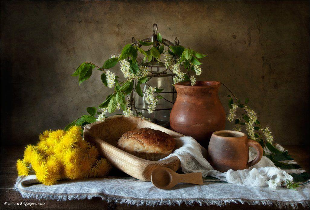 натюрморт, лето, весна, одуванчики, черёмуха, Eleonora Grigorjeva