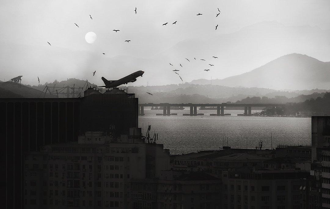 самолёт, взлёт, высота, солнце, птицы, фрегаты, дома, рио де жанейро, горы, атлантический океан, акватория, аэропот, Алла Соколова