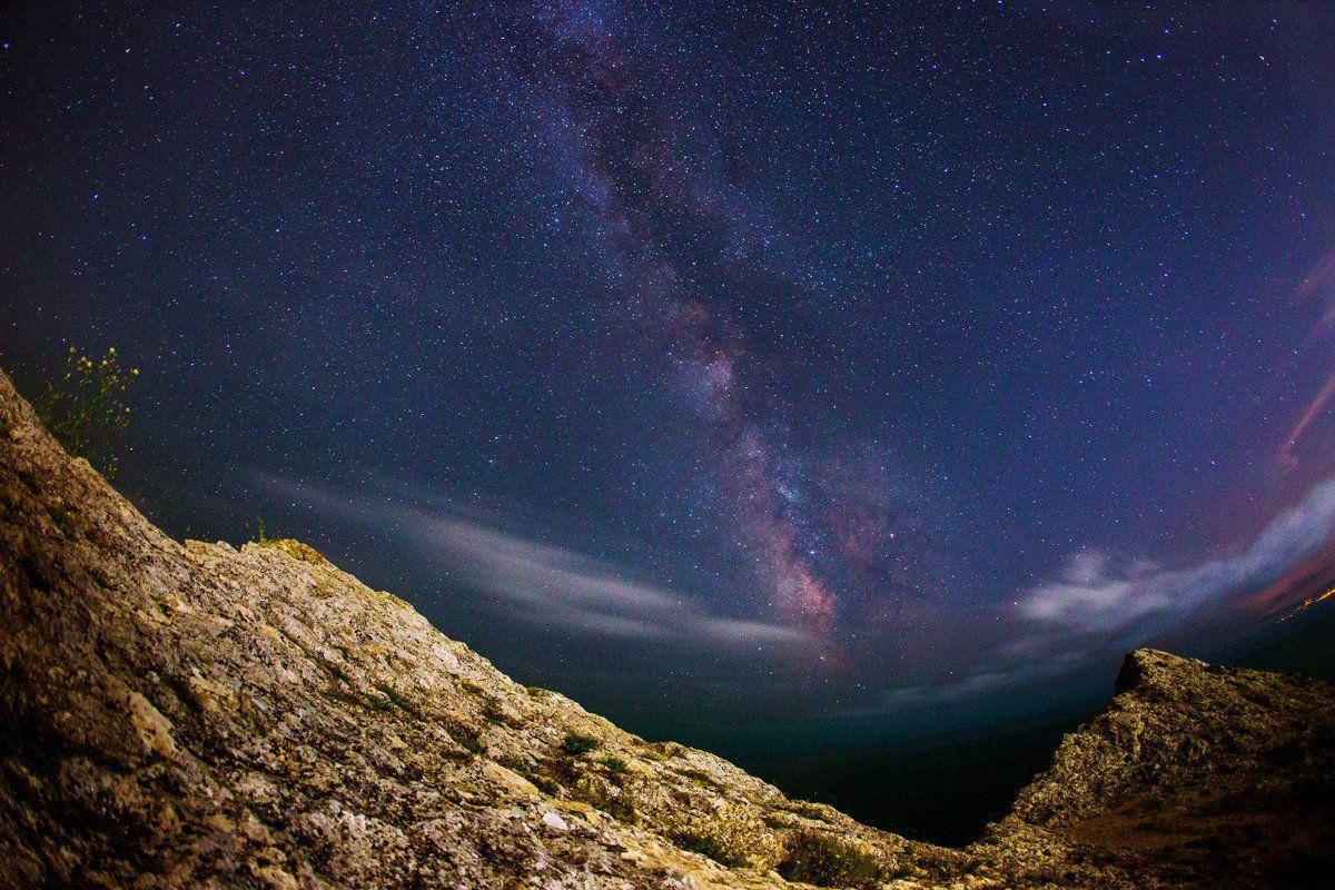 ночь, млечный путь, крым, звёзды, Скубский Алексей