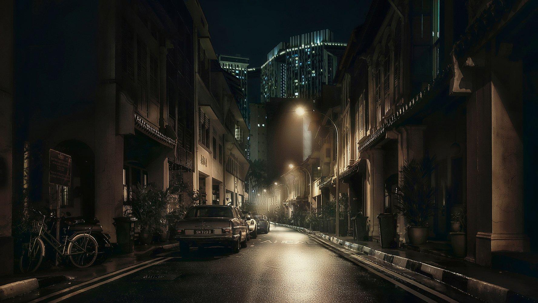город, ночь, улица, фонари, туман, Сингапур, азия, Алексей Ермаков