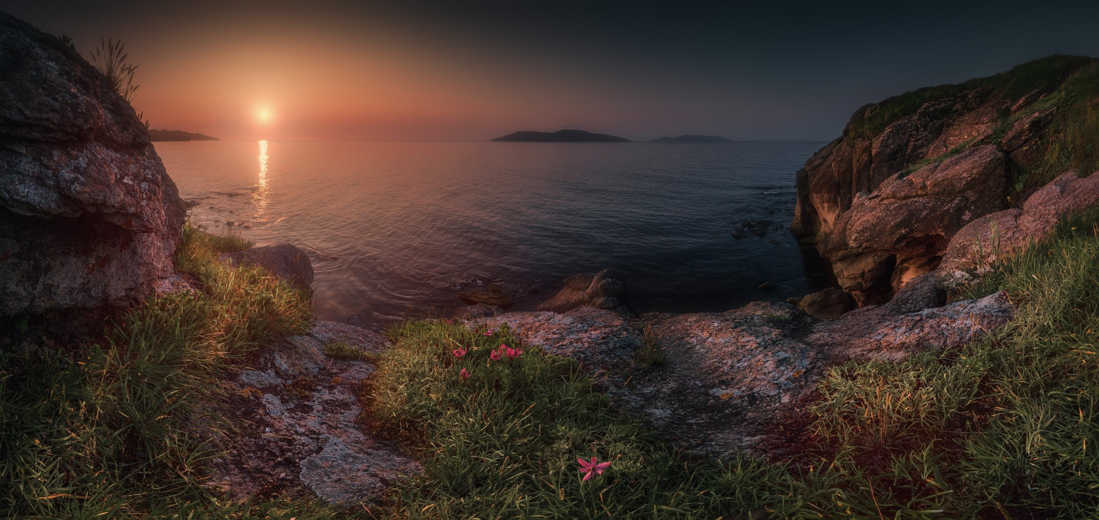 утро, панорама, лето, скалы, море, Андрей Кровлин