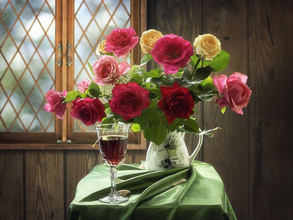 натюрморт, лето, дача, вечер, букет садовых роз, бокал вина, Ирина Приходько