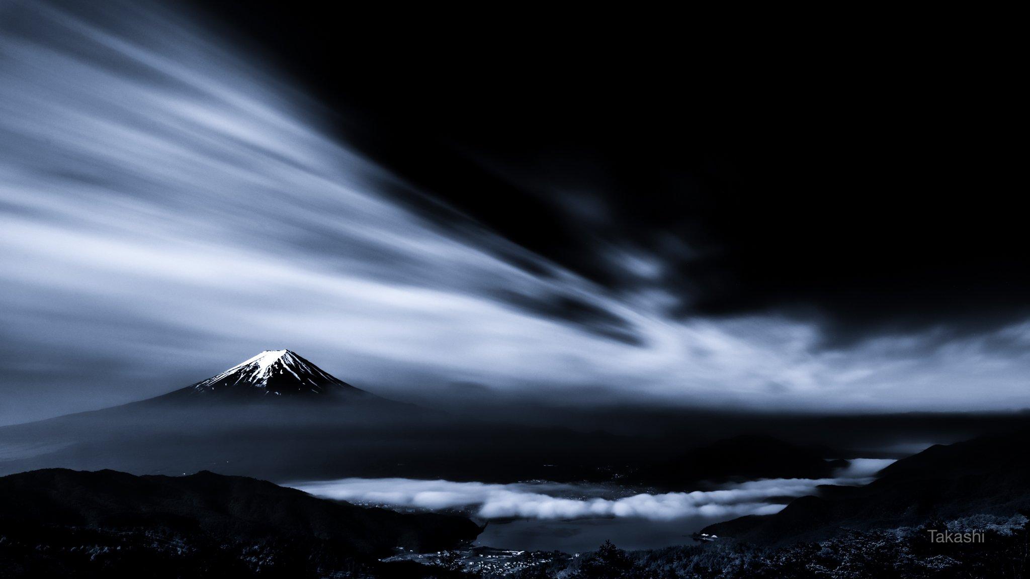 Fuji,mountain,Japan,clouds,sky,lake,snow,blue,landscape,beautiful,wonderful,, Takashi