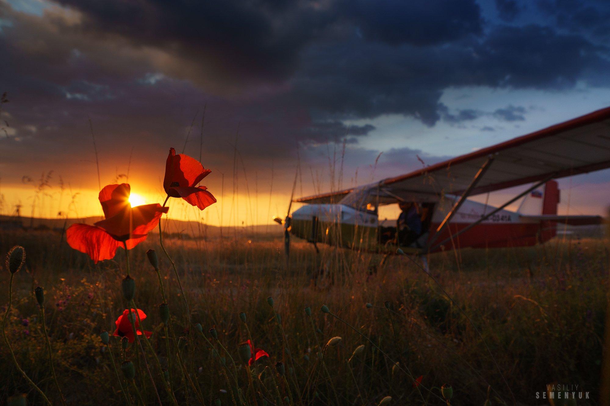 Крым, самолёт, закат, маки, поле, облака, Солнце., Семенюк Василий