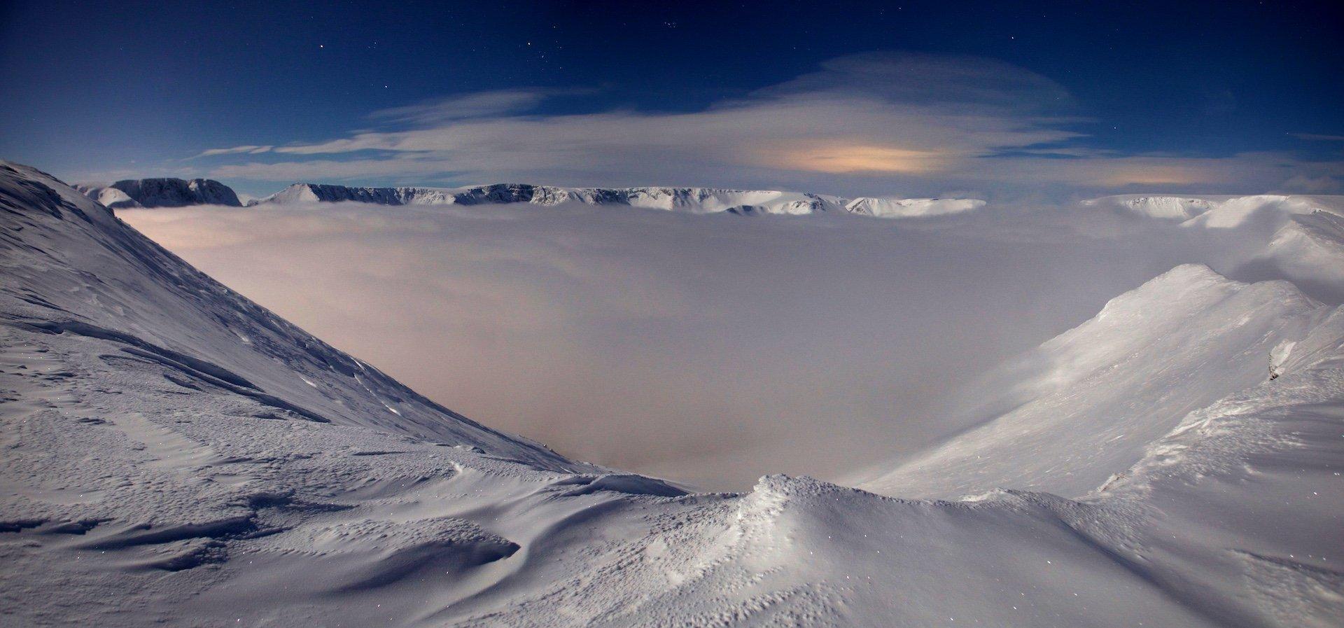 Хибины, зима, ночь, снег, туман, , Никифоров Егор