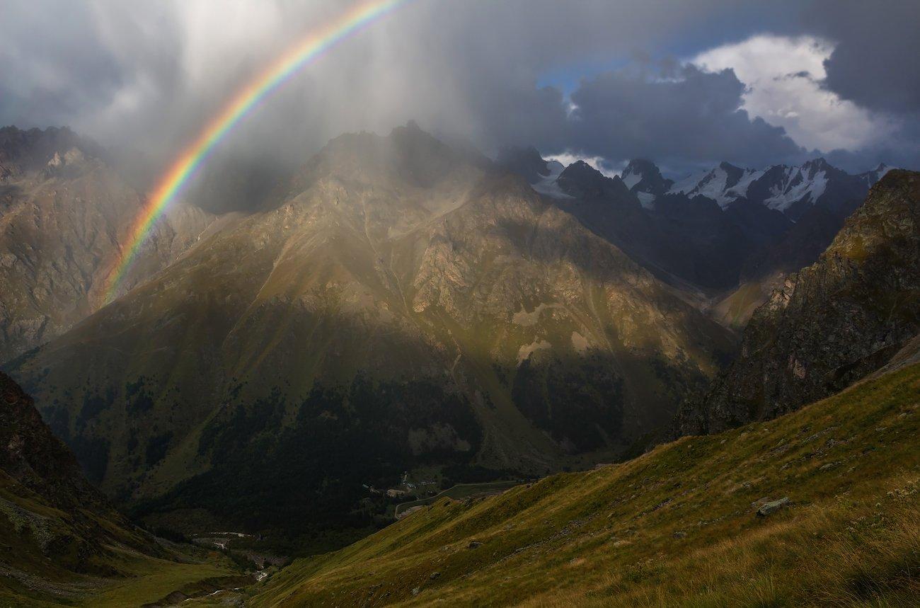горы, закат, гроза, Эстелла