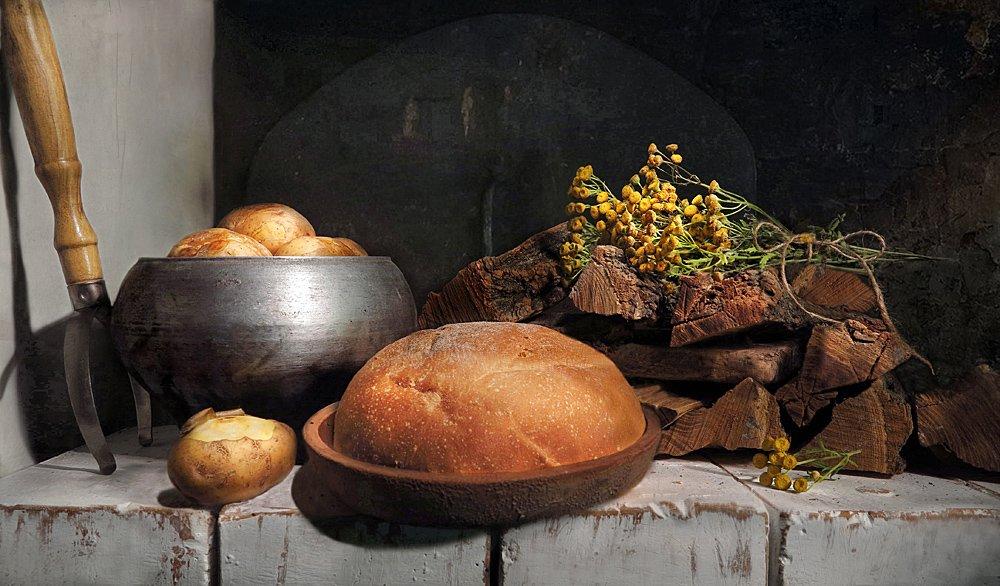 печь,картошка,хлеб,дрова,пижма, Алла Шевченко