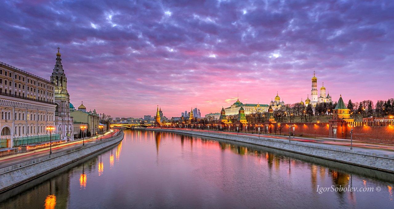 кремль, вечер, софийская набережная, москва-река, закат, Соболев Игорь