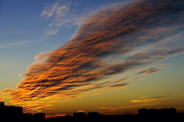 небо, тучи, закат, осень, город, дома, красный, желтый, голубой, облака, отражение, лучи, тоска, ночь, Yagor