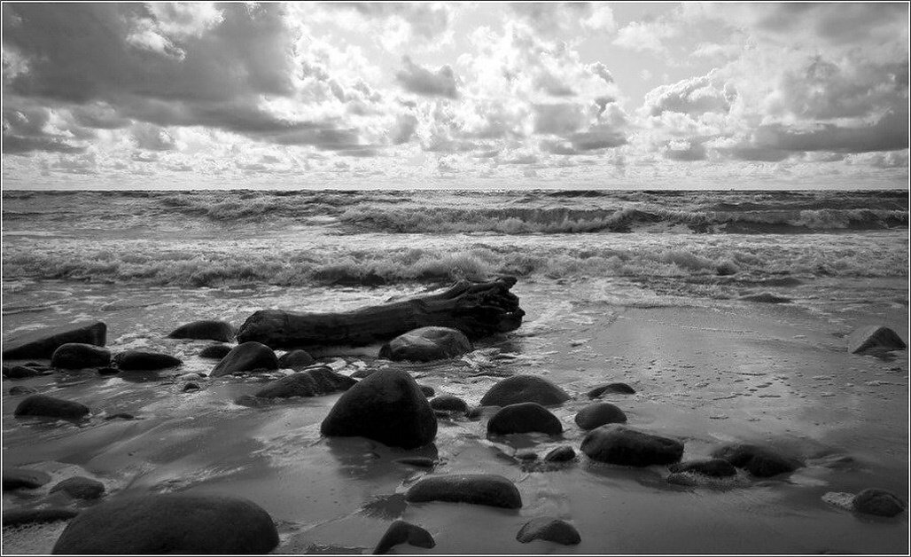black & white, bw, sea, baltic sea, stones,, senato®