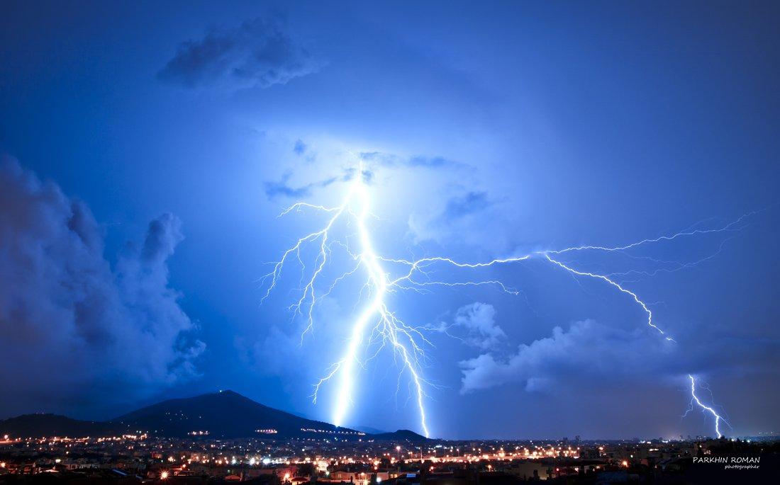 night, greece, athens, imitos, lightning, Parkhin Roman