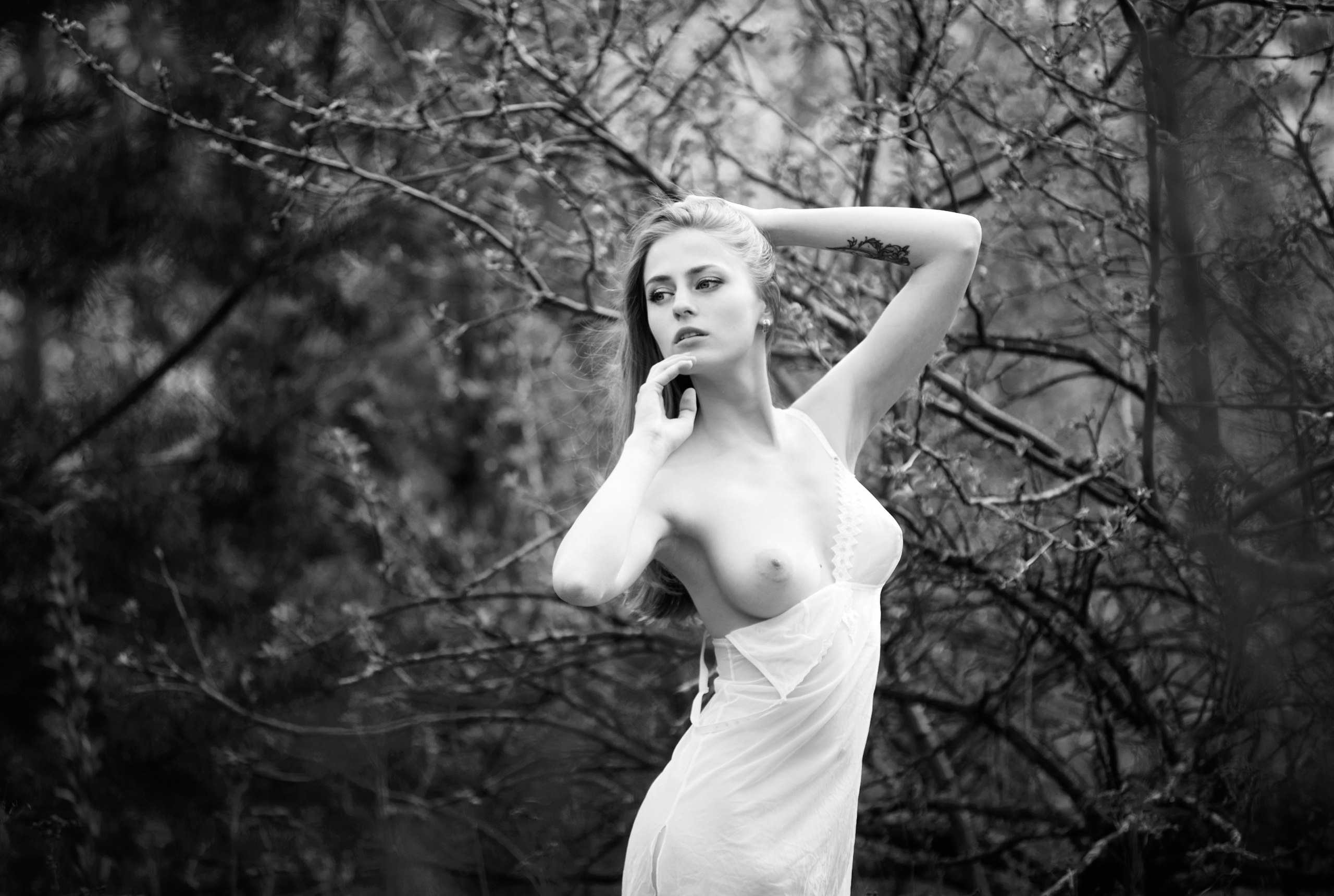 девушка, ню, эротика, портрет, черно-белое, природа, Павел Рыженков