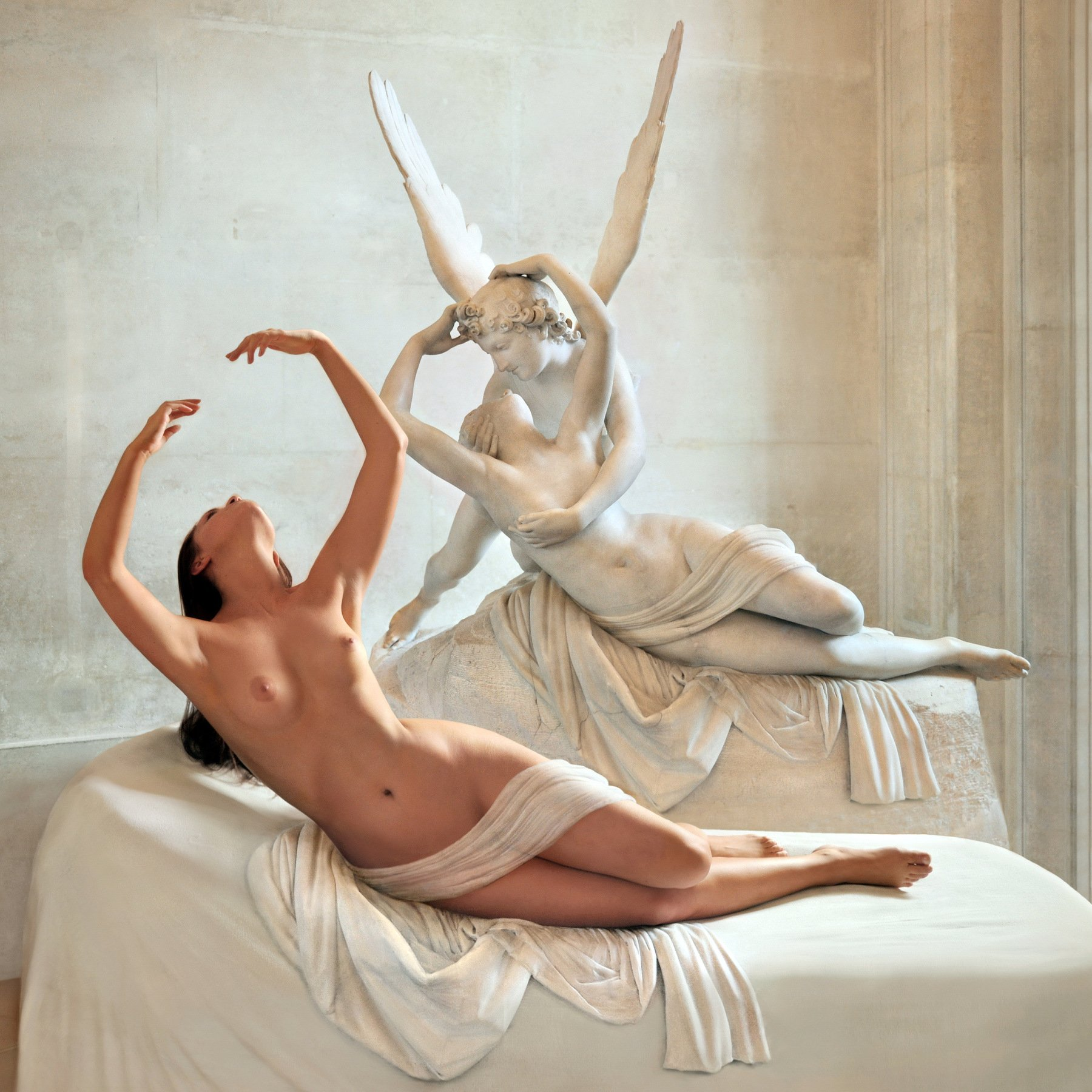 sculpture, art, museum, marble, stone, sleep, love, girl, nude, model, posing, paris, louvre, myth, greek, Endegor