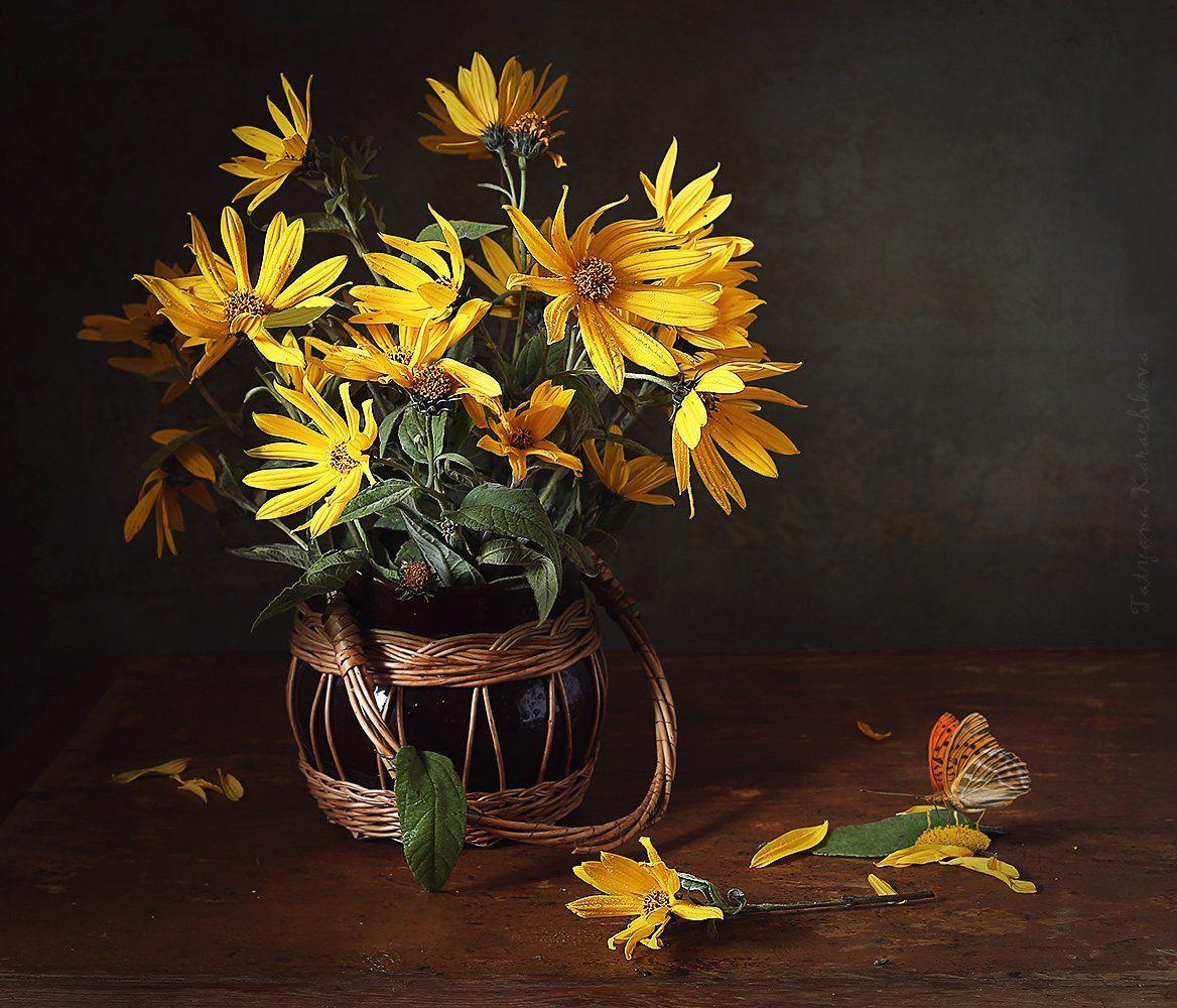натюрморт, цветы, желтые, топинамбур, Карачкова Татьяна
