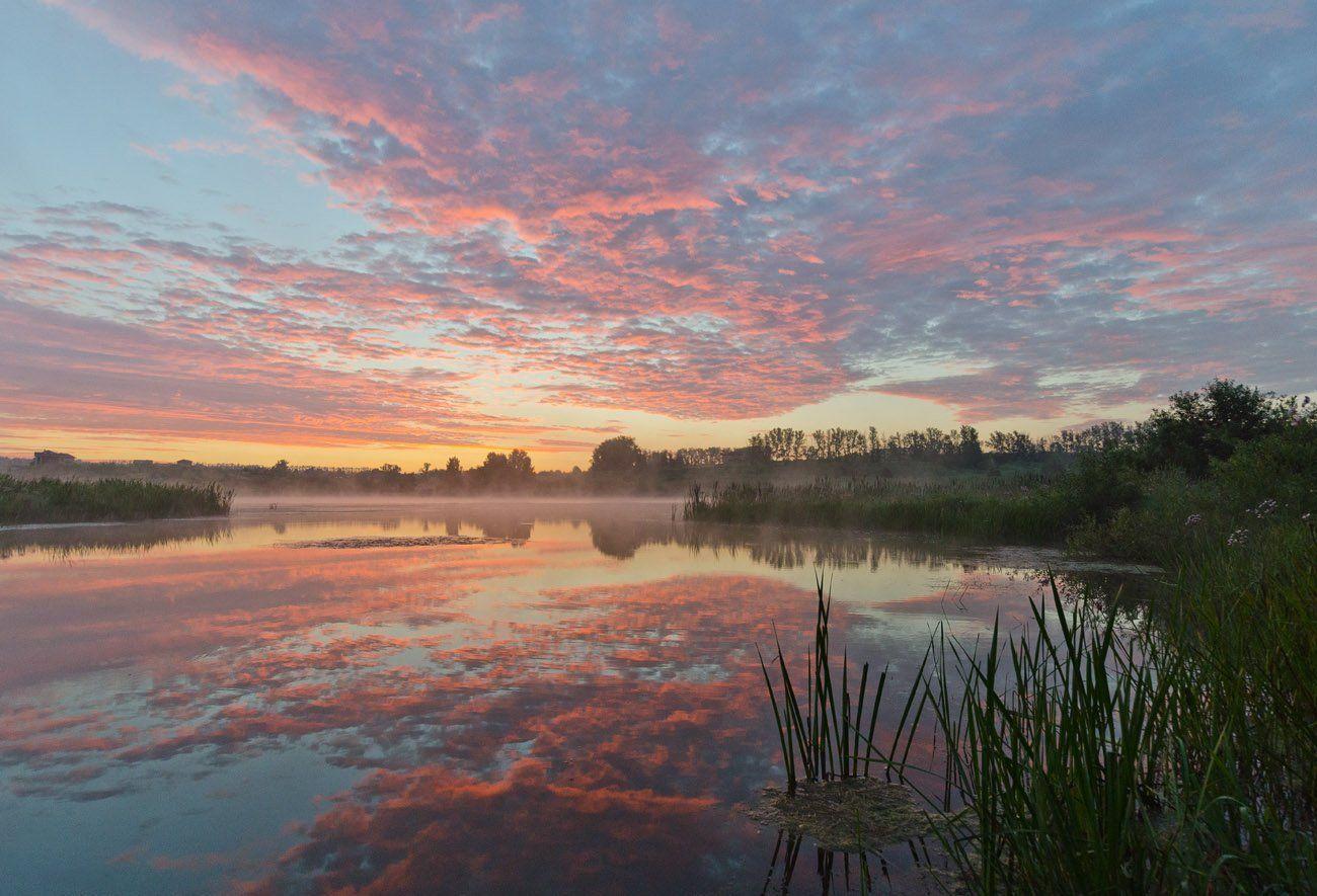 утро рассвет природа пейзаж облака архангельское, Михаил Агеев