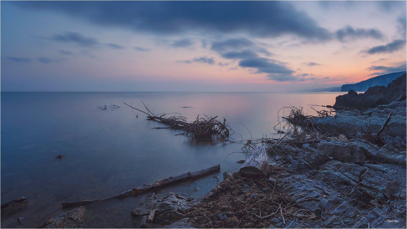 море, панорама, небо, тучи, облака, закат, горы, пляж, берег, камни, длинная выдержка, Jazz Man